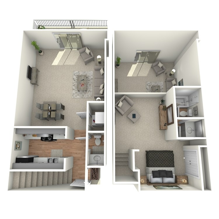 Floor plan image of 1 Bed 1.5 Bath Townhome