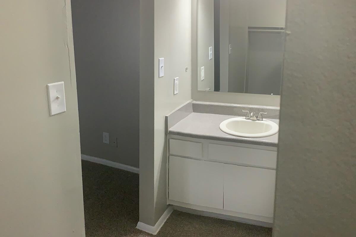 a restroom with a sink and a mirror