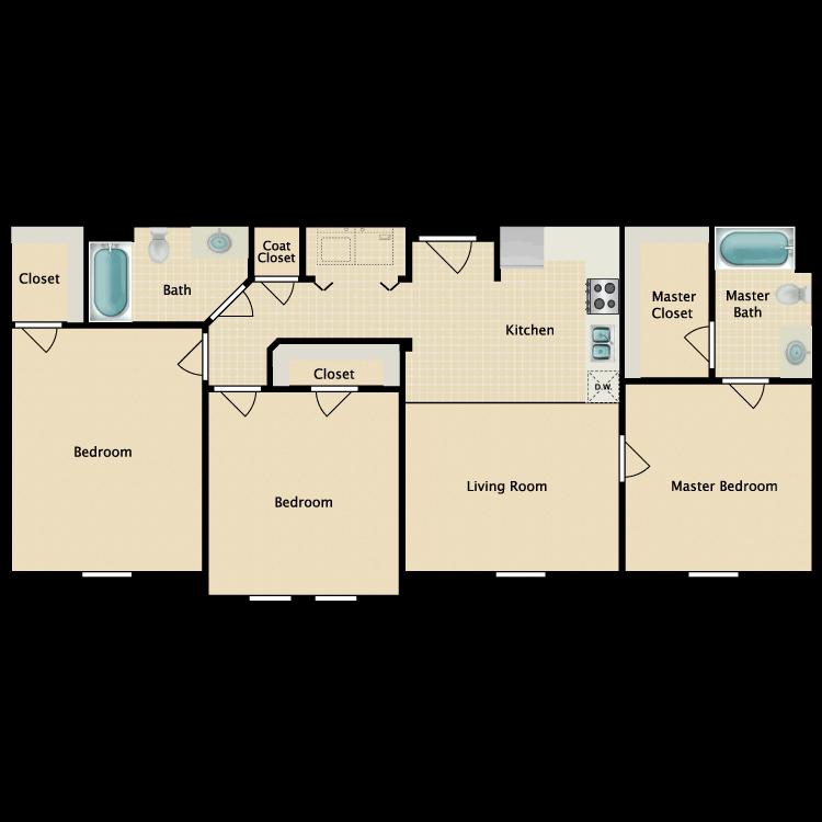 Floor plan image of 3 Bed 2 Bath B