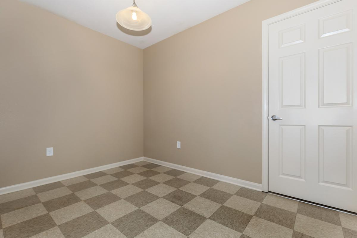 a room with a tile floor