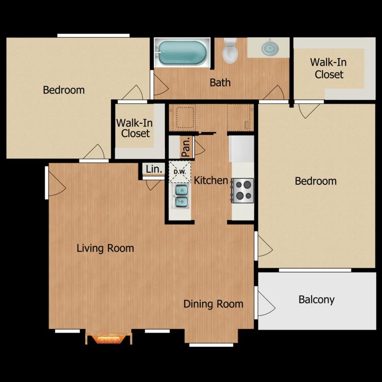 Floor plan image of 2 Bed 2 Bath A