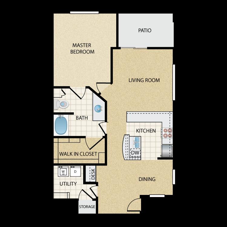 Floor plan image of Eldorado Lower: 1 Bed 1 Bath