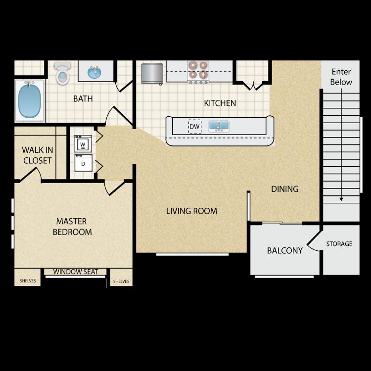 Floor plan image of Thunderbird Upper: 1 Bed 1 Bath