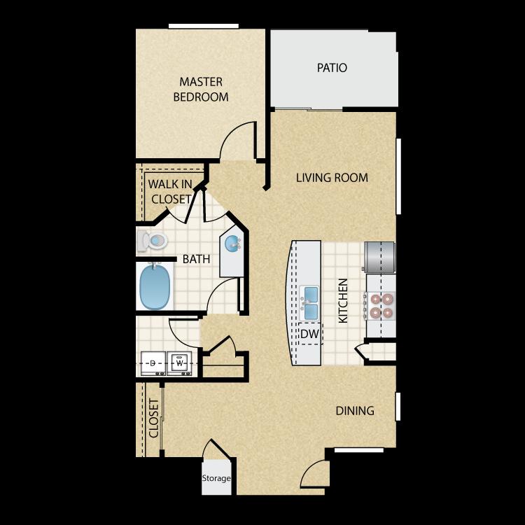 Floor plan image of Tropicana Lower: 1 Bed 1 Bath