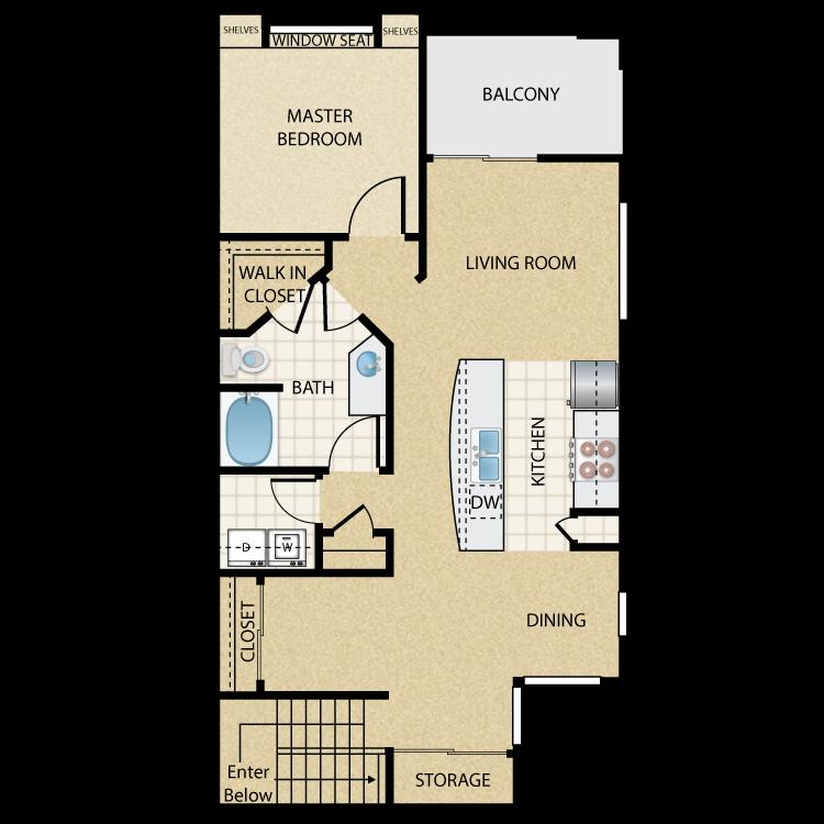 Floor plan image of Tropicana Upper: 1 Bed 1 Bath