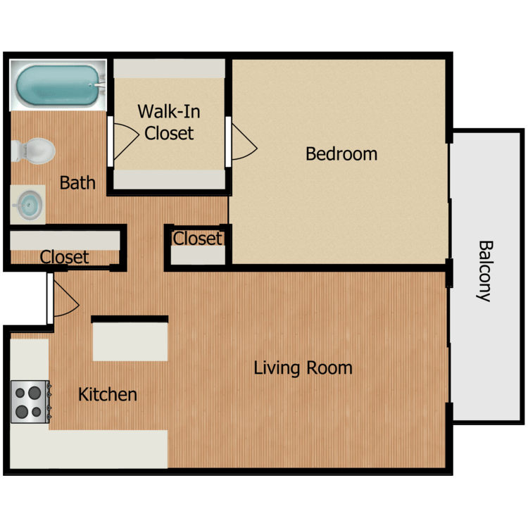 Floor plan image of Plan A, B, C, D, J, K 1 Bed 1 Bath