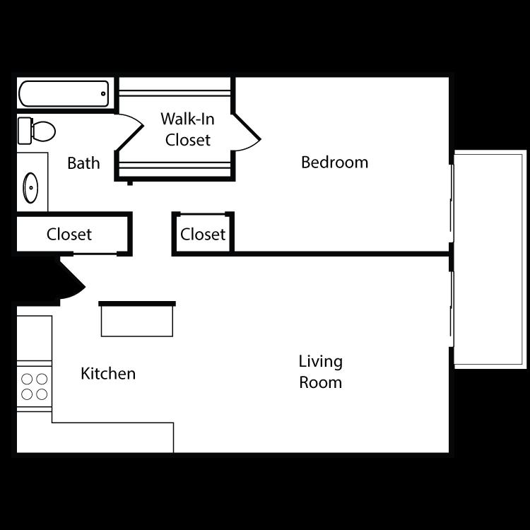 Floor plan image of Plan A, B, C, D, J, K 1 Bed 1 Bath