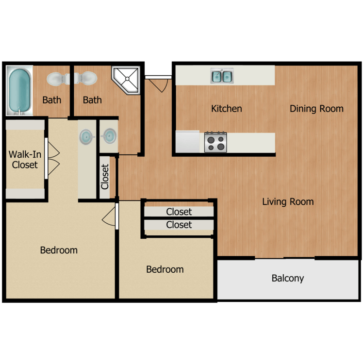 Floor plan image of Plan E, F 2 Bed 2 Bath