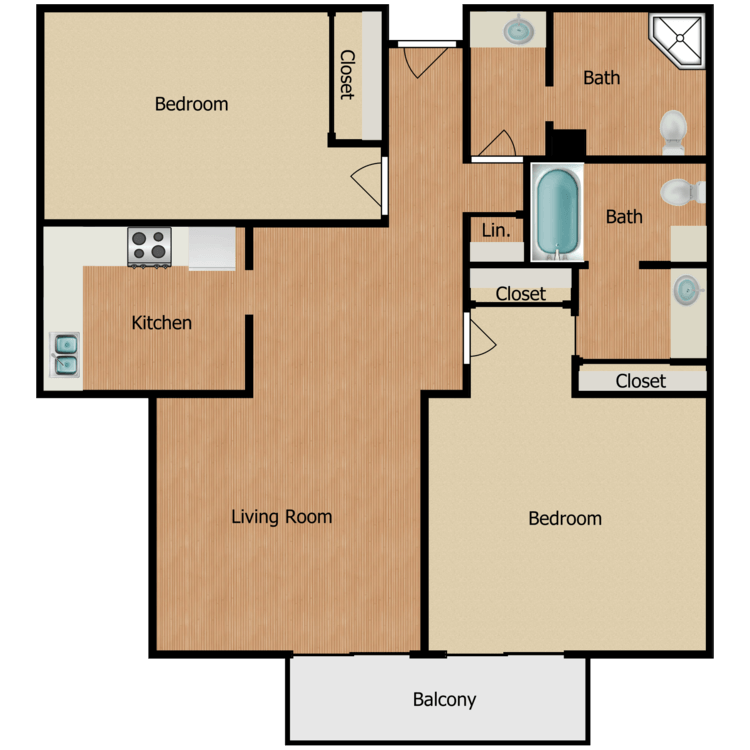 Floor plan image of Plan G, H 2 Bed 2 Bath