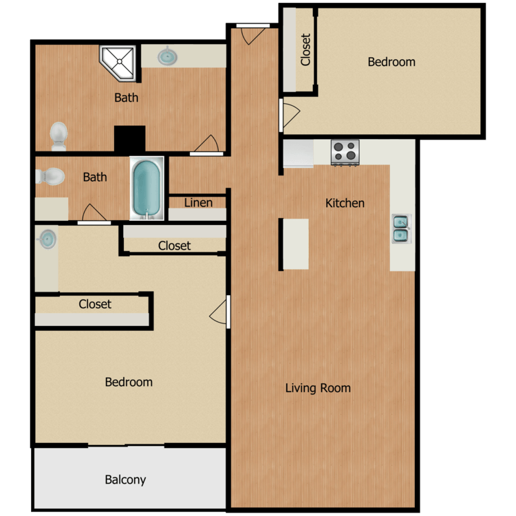 Floor plan image of Plan L, M 2 Bed 2 Bath