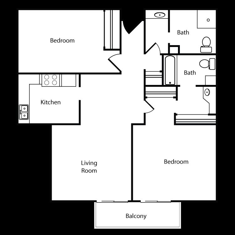 Floor plan image of Plan G, H 2 Bed 2 Bath