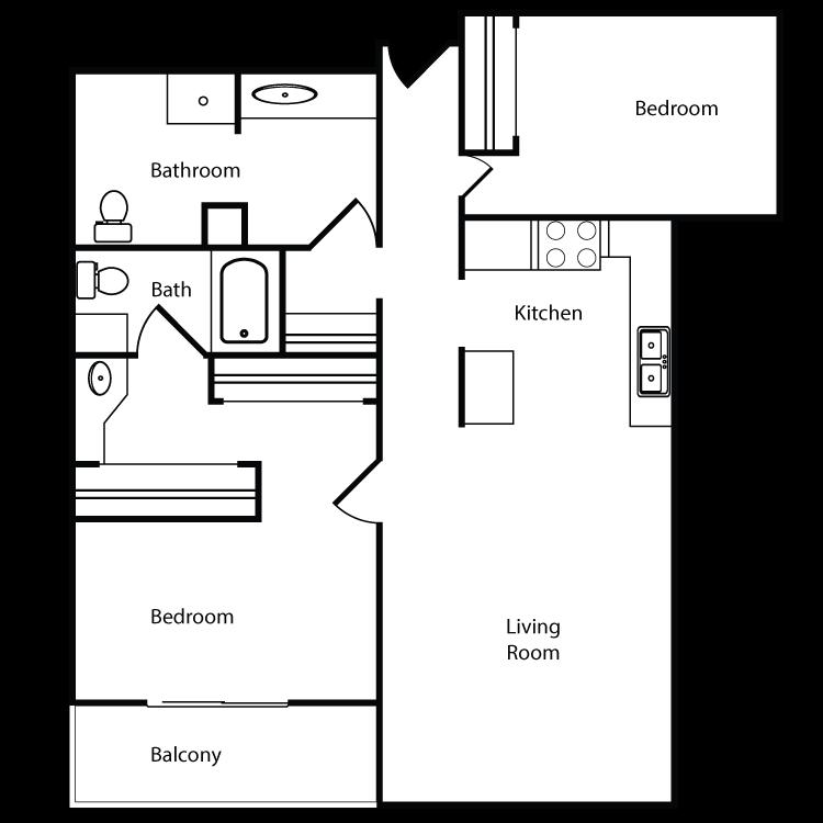 Floor plan image of Plan L, M 2 Bed 2 Bath