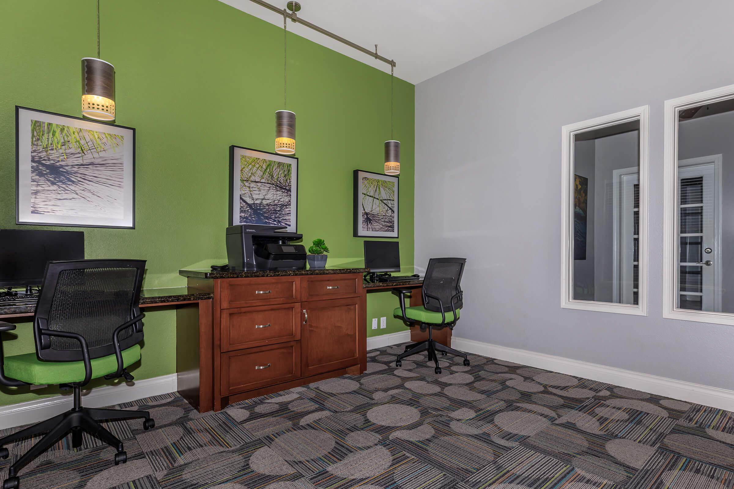 a bedroom with a green painted room