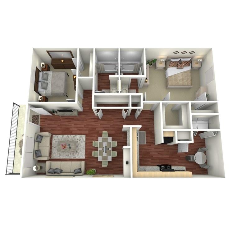 Floor plan image of 2 Bed 2 Bath-H