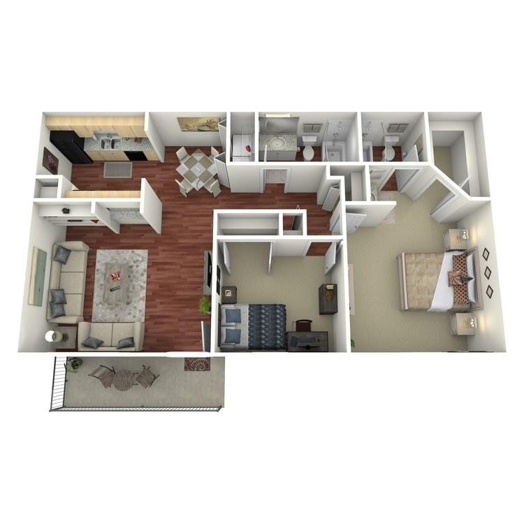 Floor plan image of 2 Bed 2 Bath-G