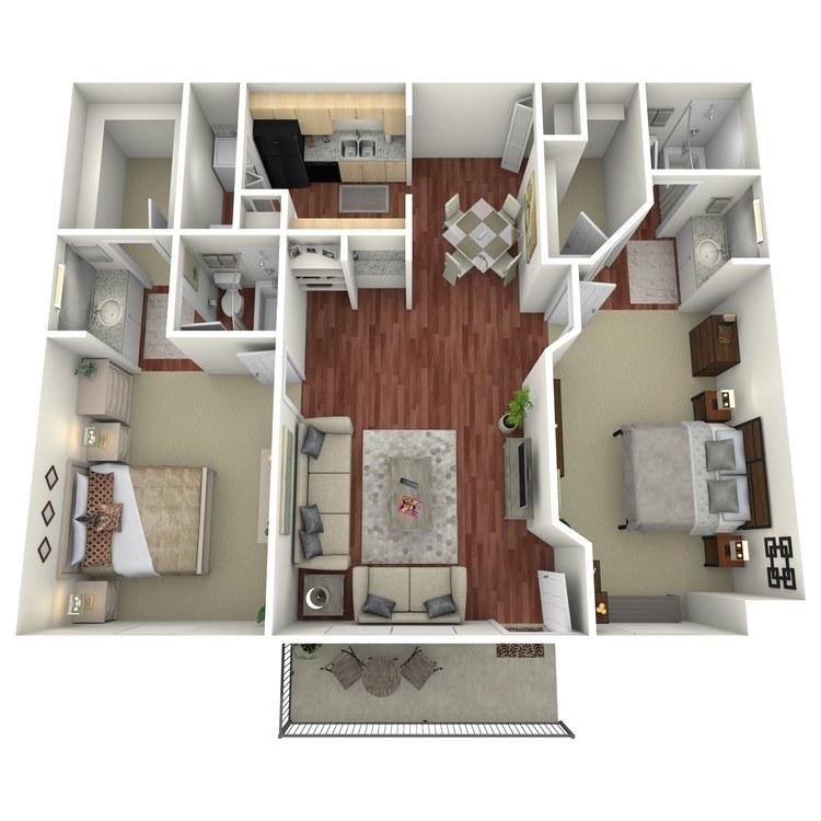 Floor plan image of 2 Bed 2 Bath-I2