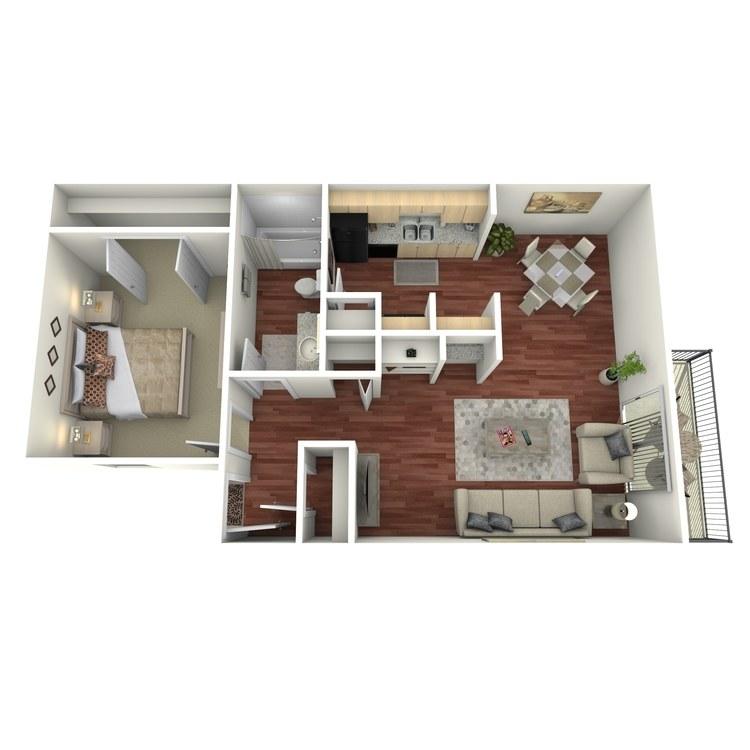 Floor plan image of 1 Bed 1 Bath-C