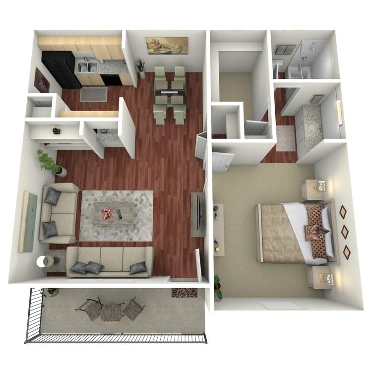 Floor plan image of 1 Bed 1 Bath-B