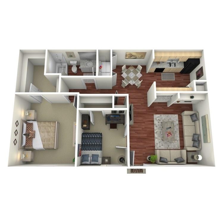 Floor plan image of 2 Bed 1 Bath-D