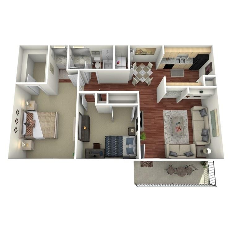 Floor plan image of 2 Bed 1.5 Bath-E