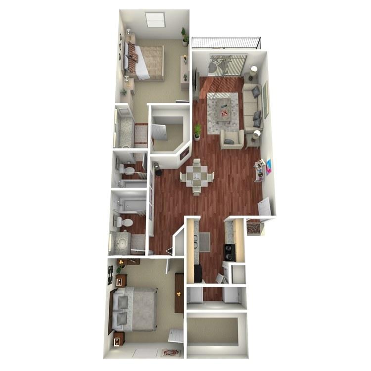 Floor plan image of 2 Bed 2 Bath-J2