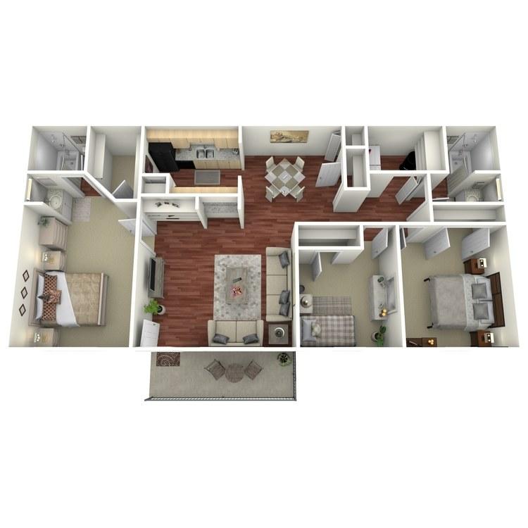 Floor plan image of 3 Bed 2 Bath-K2