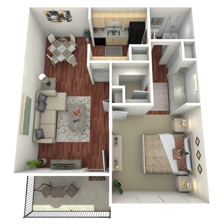 Floor plan image of 1 Bed 1 Bath-A
