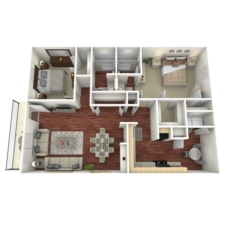 Floor plan image of 2 Bed 2 Bath-H2