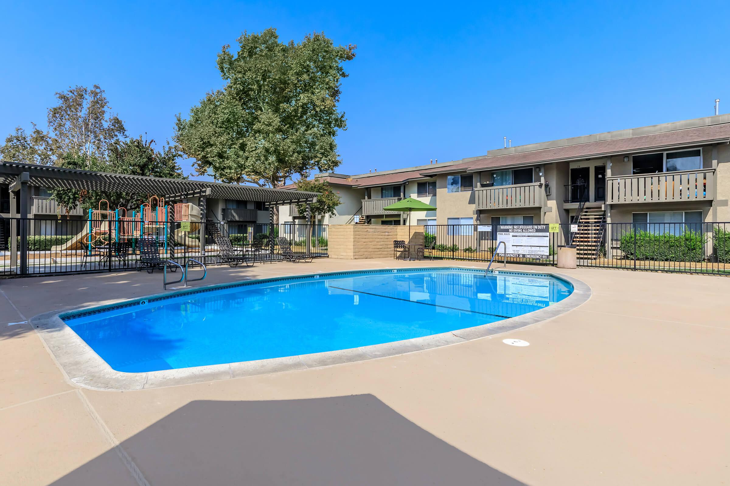 Meadowood Place Apartment Homes community pool with pergola
