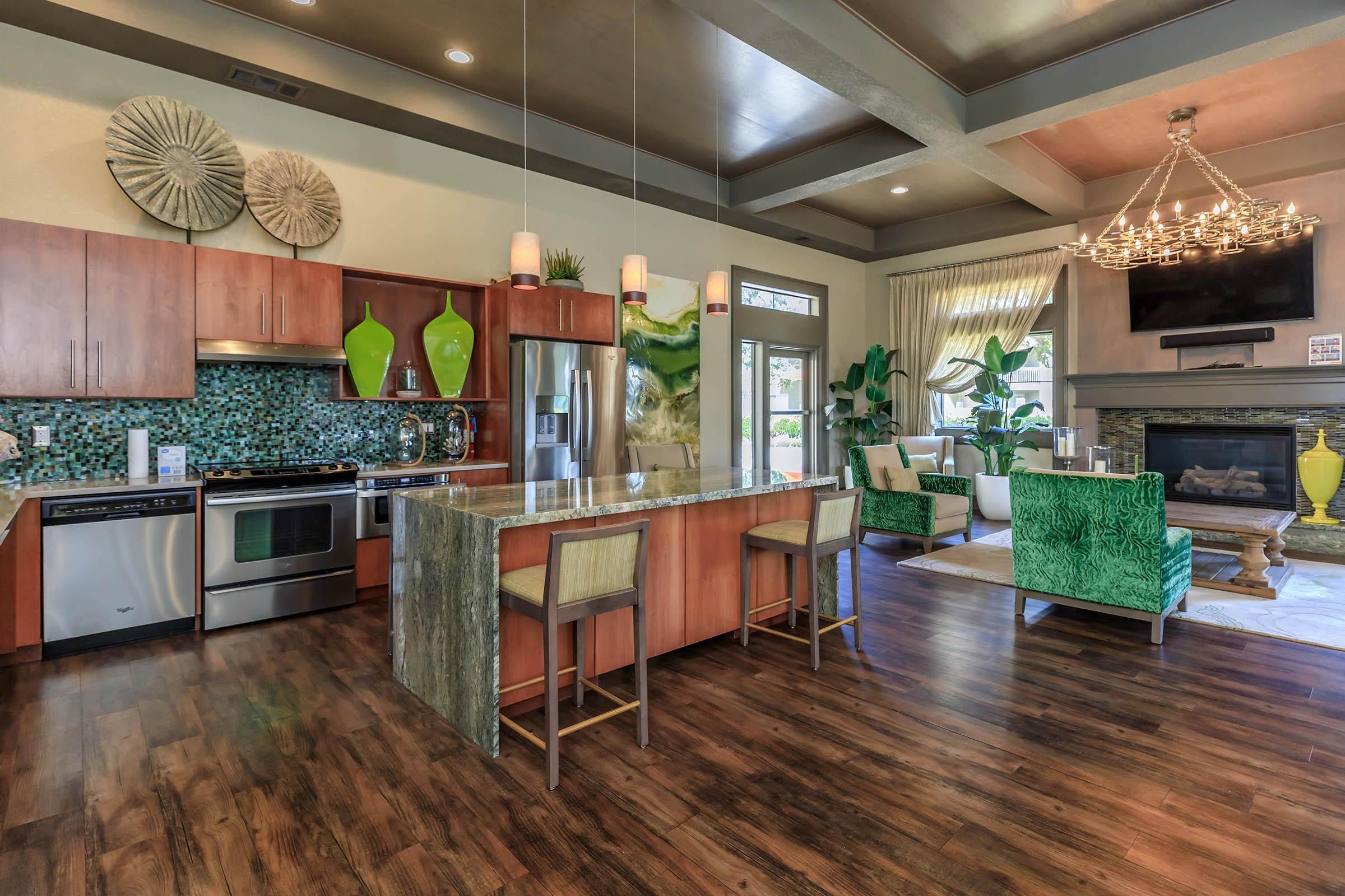 Cambridge Village Apartments community kitchen with stainless steel appliances