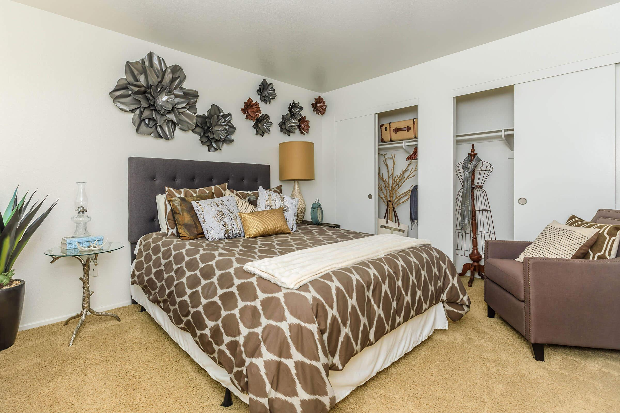 Bedroom with brown bedding