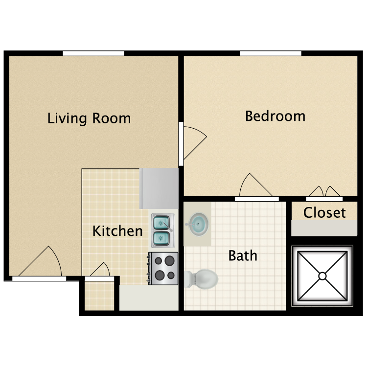 Floor plan image of One Bedroom One Bathroom