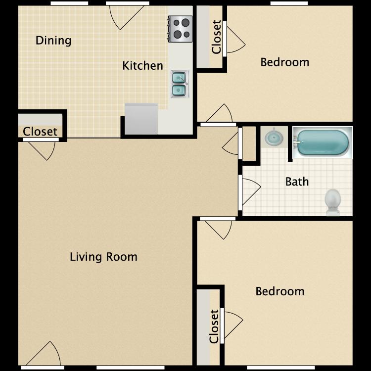 Floor plan image of 2 Bed 1 Bath H.C.