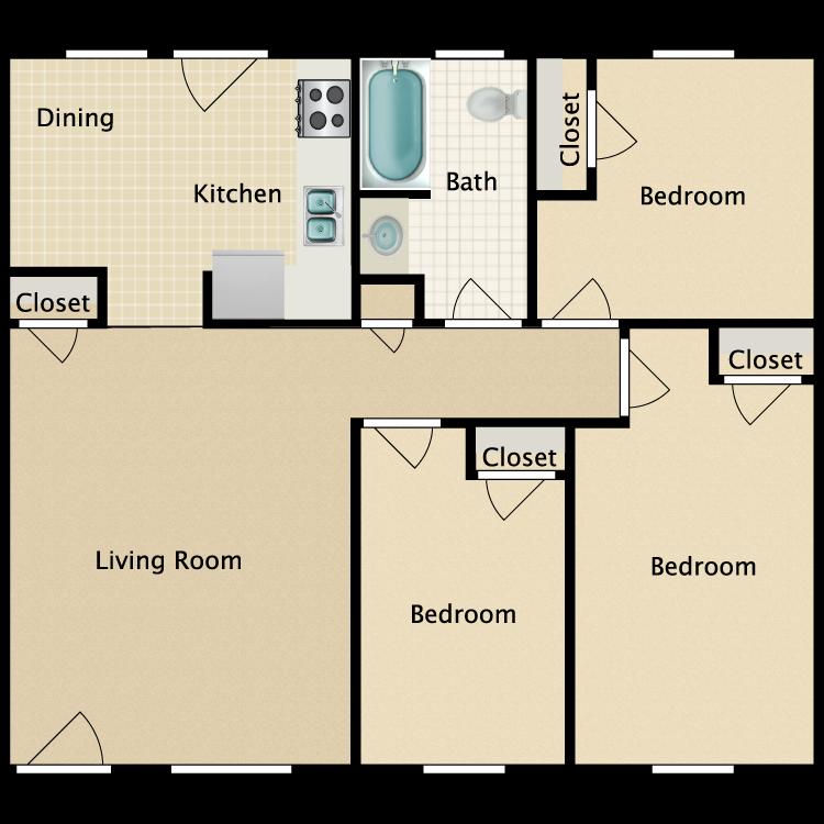 Floor plan image of 3 Bed 1 Bath H.C.