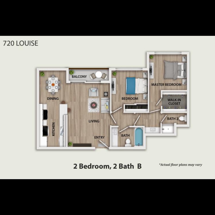 Floor plan image of 2 Bed 2 Bath Furnished