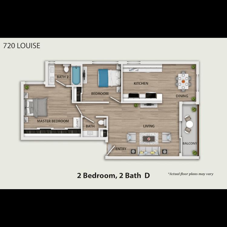 Floor plan image of 2 Bed 1.5 Bath Furnished