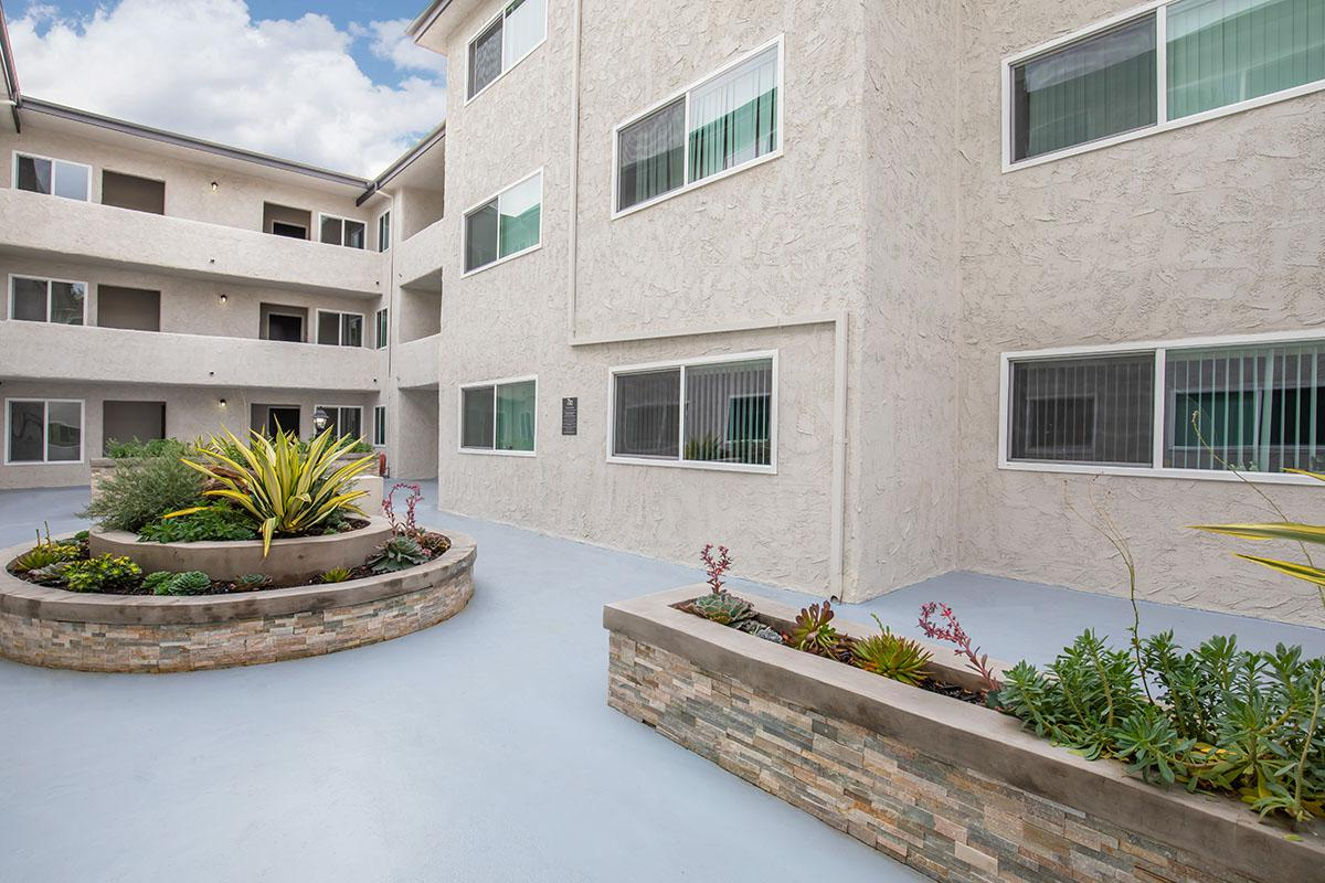 Landscaped courtyard at 720 Louise
