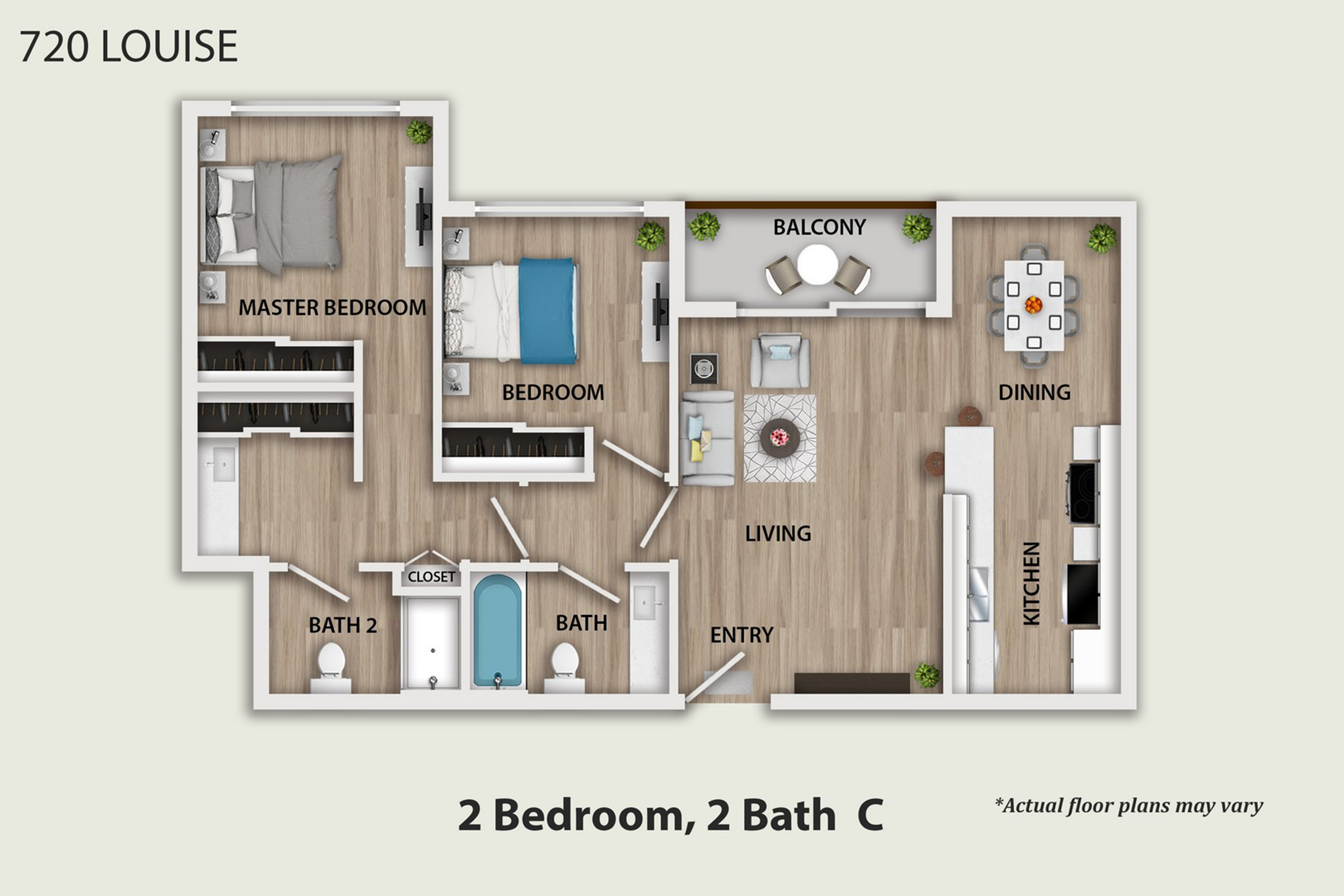 Two bedrooms for rent at 720 Louise