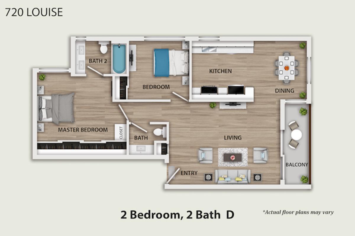 Luxury Two Bedroom Apartments in Glendale CA - 720 Louise Bathroom