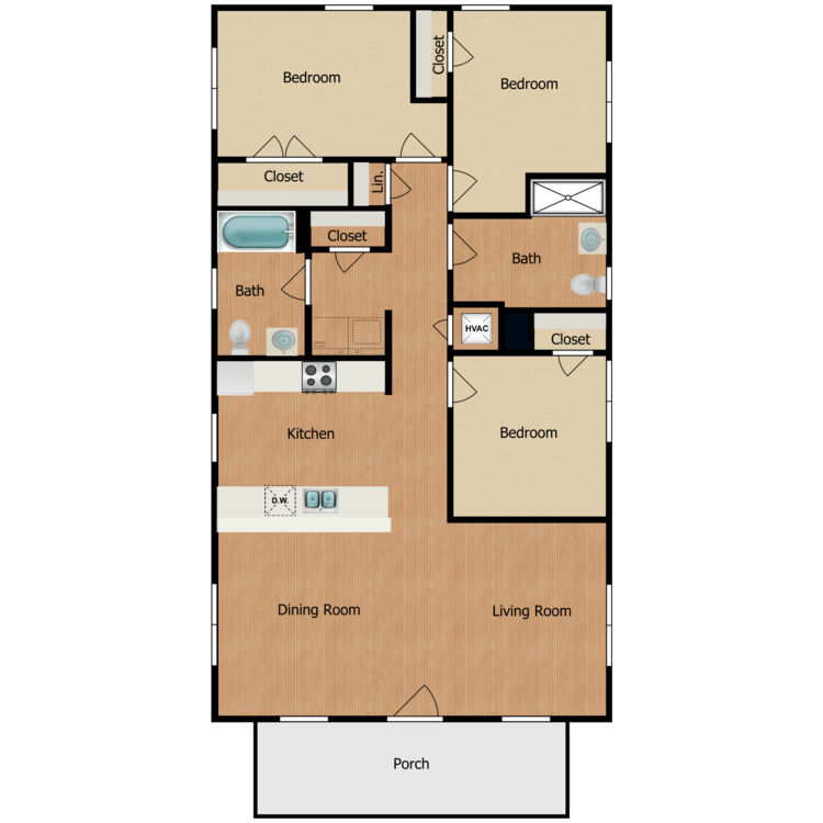 Floor plan image of 3B