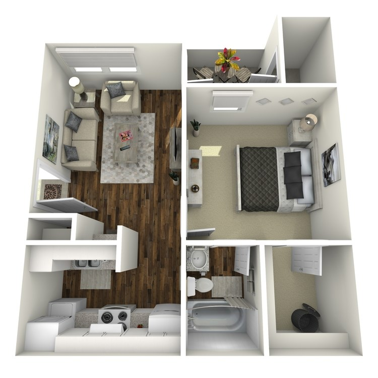 Floor plan image of Elite One Bedroom One Bath
