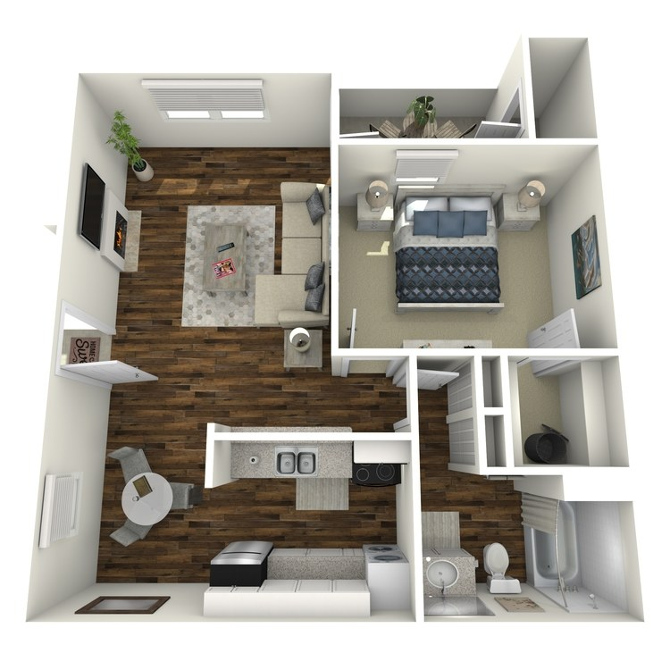 Floor plan image of Luxury One Bedroom One Bath