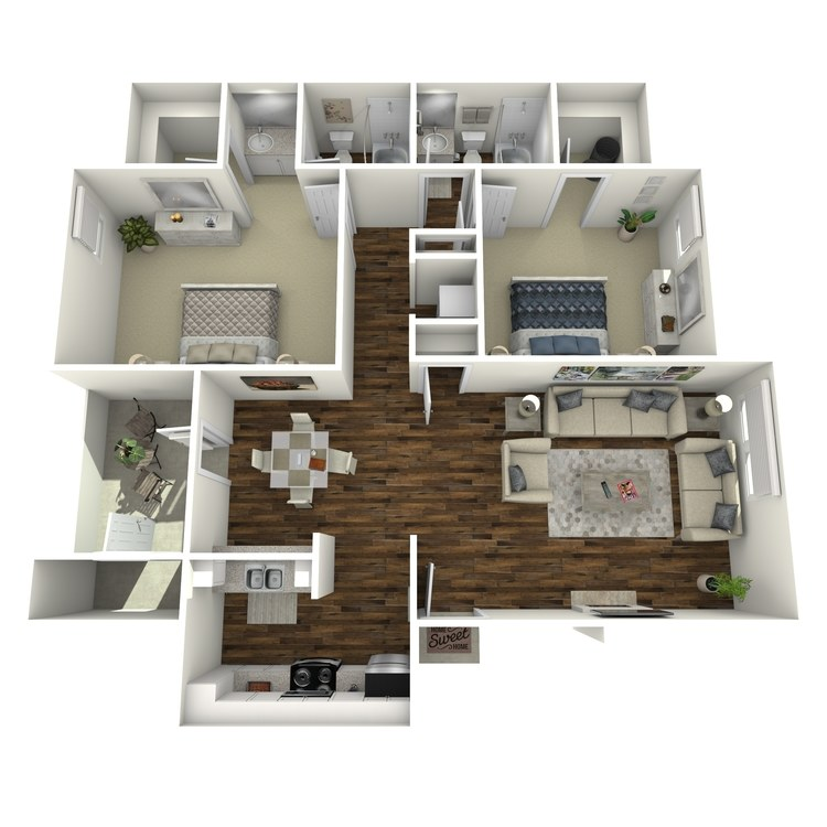 Floor plan image of Executive Two Bedroom Two Bath