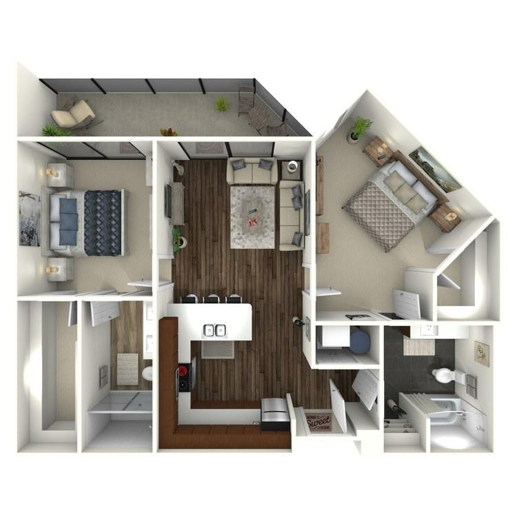 Floor plan image of 2B1 Uptown