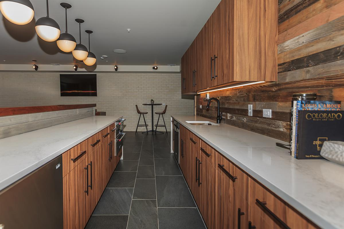 a kitchen with a wooden counter