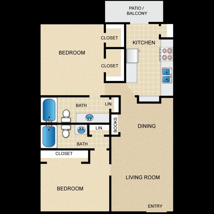 Floor plan image of 2 Bed 2 Bath F
