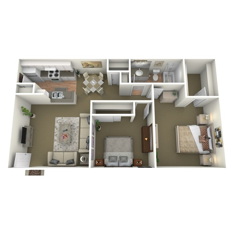 Floor plan image of 2 Bed 1 Bath D