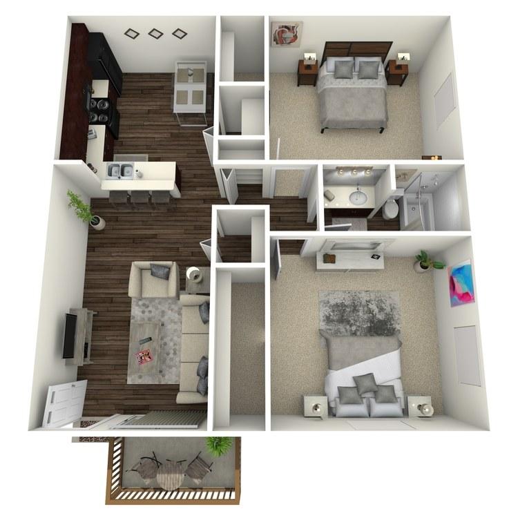 Floor plan image of Walnut w/ Hardwood Floors