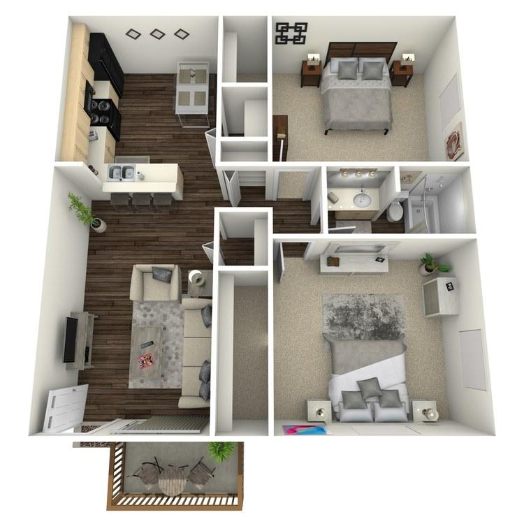 Floor plan image of Oak w/ Hardwood Floors
