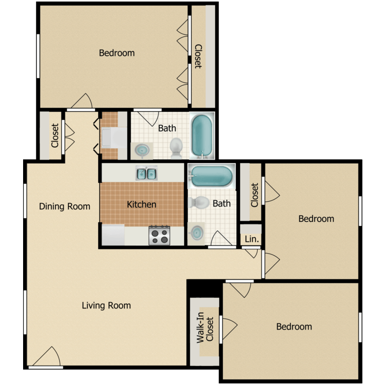 Floor plan image of Three Bedroom with Washer and Dryer B